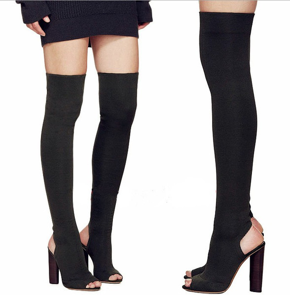 free shippingknit new line of knee-length thigh-high boots peep toe new style overknee elastic force long boot 334