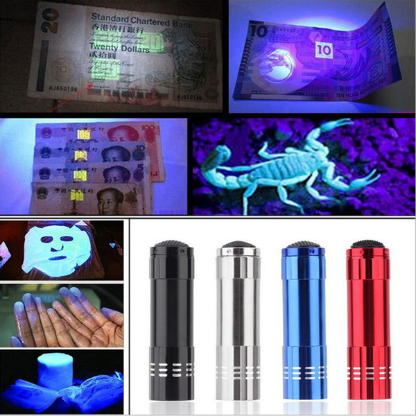 top popular 9LED Mini Aluminum UV Ultra Violet 9 LED Flashlight Blacklight Torch Light Lamp 30PCS 2019