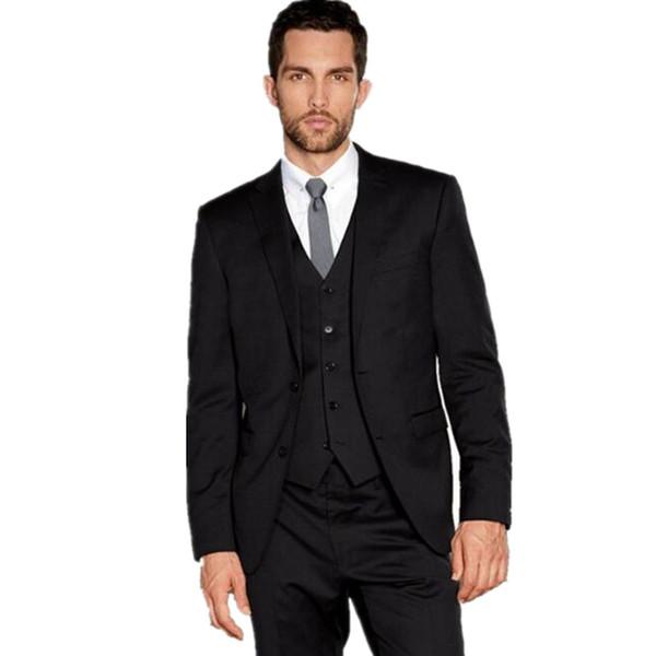 Black Men Wedding Suit tuxedos for men elegant Formal Dress Business Suits tailor made Groom Tuxedos (jacket+pants+vest)