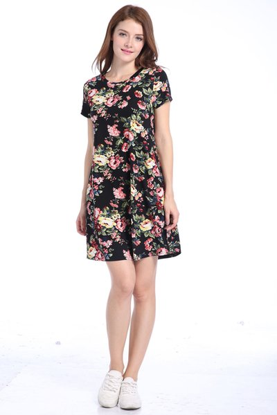 Casual Flower New Spring Summer Plus Size Women Clothing 2017 fashion Floral Print Pattern Cute dresses vestidos Free Shipping D065
