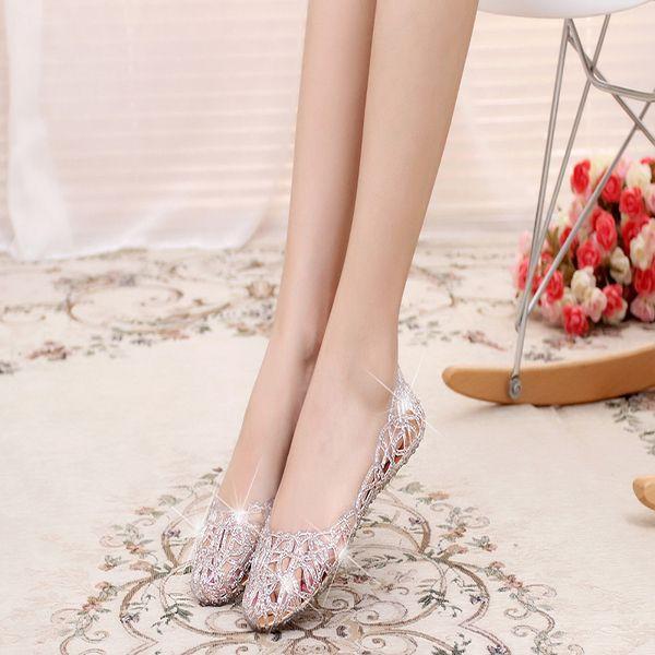 Nueva llegada de la moda de cristal plano jalea Bling zapatos Melissa mujeres recortes sandalias chanclas Mini Sed 4 Color