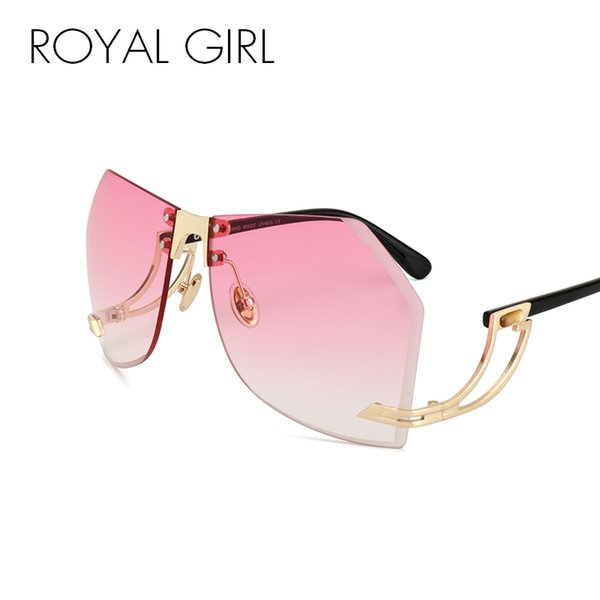 ROYAL GIRL Oversized Sunglasses Women Rimlesss Brand Designer Elegant Lady Female Optics Clear lens ss143