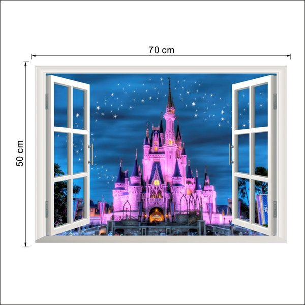 3D Castle Window Wall Sticker Muralskids 50*70CM PVC Wall Decorative Decals for Living Room Kids Room and Nursery Decoration