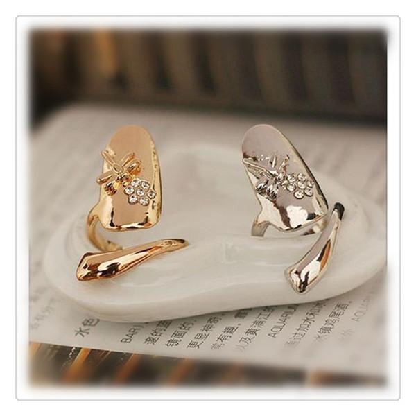 Neue vorzügliche nette Ringe Retro Königin-Libellen-Entwurfsrhinestone-Pflaumen-Schlange-Goldsilberring-Finger-Nagel-Ringe geben Verschiffen frei