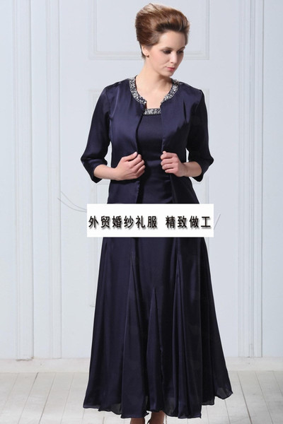 free shipping party Cheap crystal vestido de madrinha 2018 new fashionable gorgeous Mother of the Bride Dresses with jacket