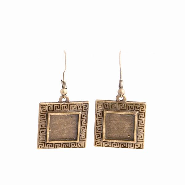 top popular SWEET BELL 12pcs lot Metal Alloy Zinc Fit Square 12.5mm Cabochon Set Pendant Drop Earing Diy Jewelry Making C0791 2019