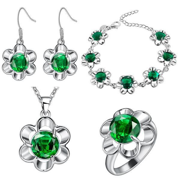 Pendentif en argent sterling 925 Boucles d'oreilles Collier Bague Bracelet Bijoux en argent épais de fleur de prunier
