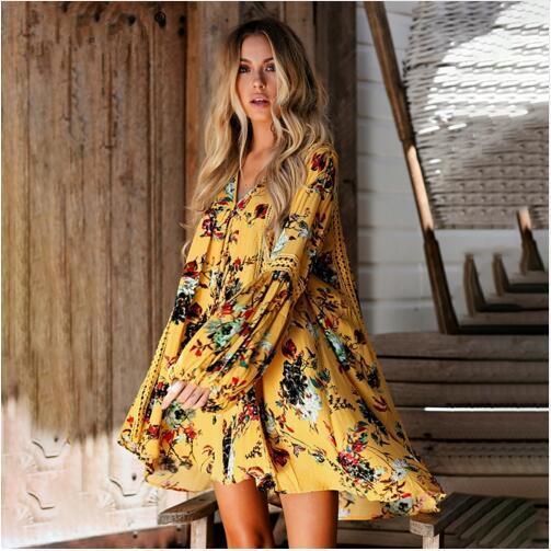 e8ff461264 Boho imprimir encaje ahueca hacia fuera el verano bohemio vestido de playa  Mujeres linterna manga vestido corto flojo Vestido de playa blanco  vacaciones ...