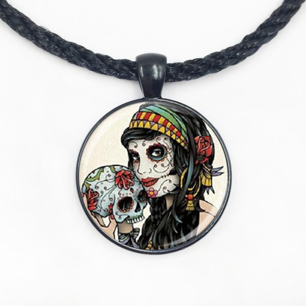 Wholesale Glass Dome pendant gypsy skull necklace halloween jewelry fashion diy necklace for girls