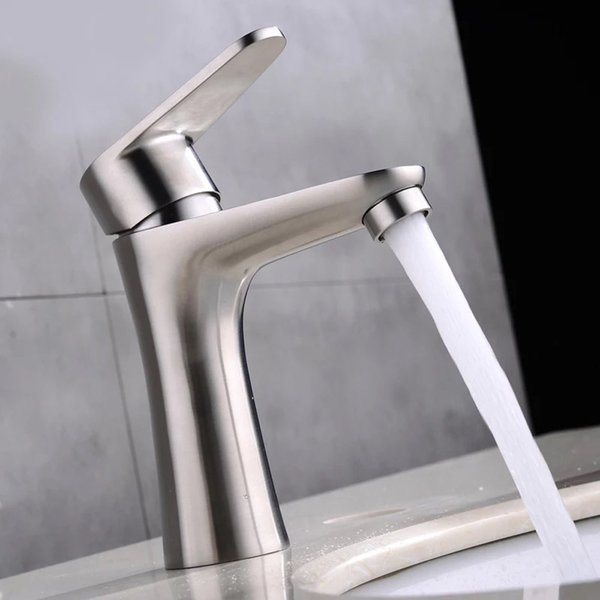 Modern 304 Stainless Steel Bathroom Sink Faucets Nickel Brushed Single Handle Single Hole Hot Cold Mixer Deck Mounted Basin Taps SSMP026