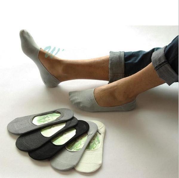 Calze da barca in cotone da uomo sotto la caviglia Tinta unita Fibra di bambù Estate Comodi calzini in pelle casual OOA2490