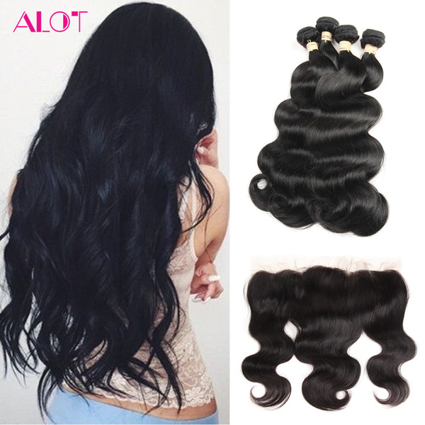 ALOT Brazilian Virgin Hair with Frontal Body Wave Cheap Human Hair Bundle 100% Virgin Human Hair 4 Bundles With 13x4 Lace Frontal