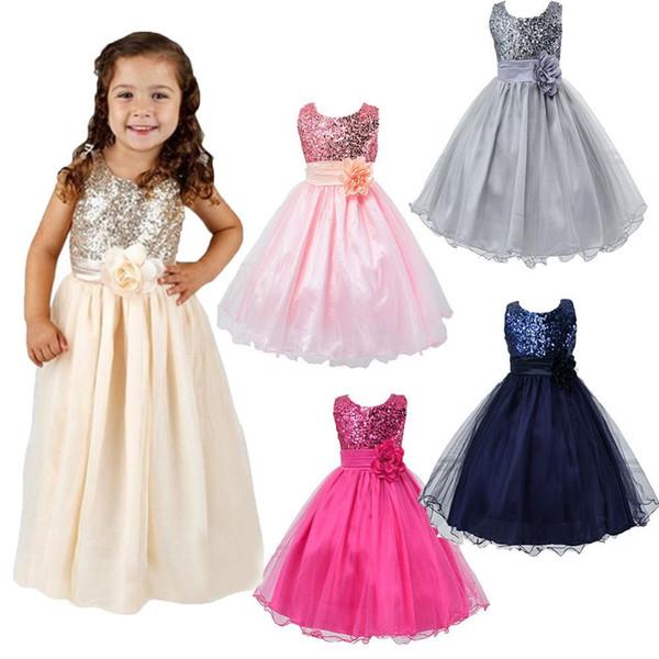 Çocuklar Elbise Bebek Çiçek Kız Parti Sequins Çocukların Düğün Güzel Uzun Gelinlik Modelleri Kız Giyim