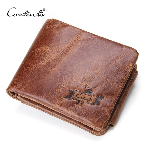 Quality CONTACT'S Genuine Crazy Horse Leather Men Wallets Vintage Trifold Wallet Zip Coin Pocket Purse Cowhide Leather Wallet For Mens