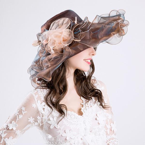 Alta calidad elegante gasa fina sombrero de ala grande fiesta de la iglesia sombreros de la boda sombrero de la manera sombreros del sol 6 colores