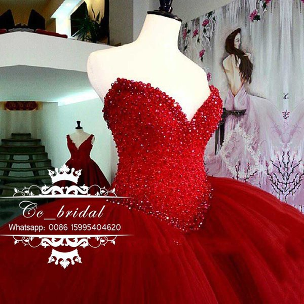 Shining cry tal red quinceanera dre e 2017 weetheart beaded tulle ma querade ball gown plu ize puffy weet 16 dre e new cu tom made