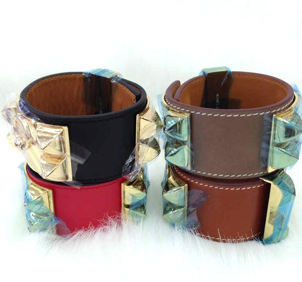 Cheap wholesale H plain leather, four nails, rivets, leather bracelets, exaggerated punk, wide face Bracelets