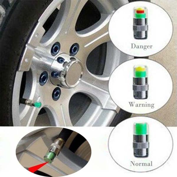 Mini 2.4Bar Car Tire Pressure Gauge Monitor tappi Strumenti TPMS Warning Monitor Valve Indicator 3 Color Alert Diagnostic Tools Accessori