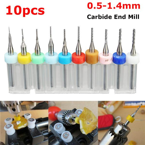 10pcs Titane 0.8-3.175mm Carte De Circuit Imprimé Gravure cutter Rotary CNC End Mill Drill Bits