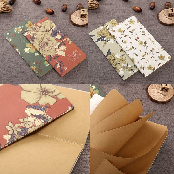 4 Color Retro Flower series Notebook / Vintage DIY Diary Pocket Kraft Paper Blank Notepad For Women Girls Kids Free shipping (19cm x 7 cm)