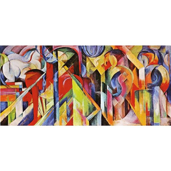 Franz Marc artwork Riproduzione Scuderia pittura a olio su tela Decorazione murale fatta a mano di alta qualità