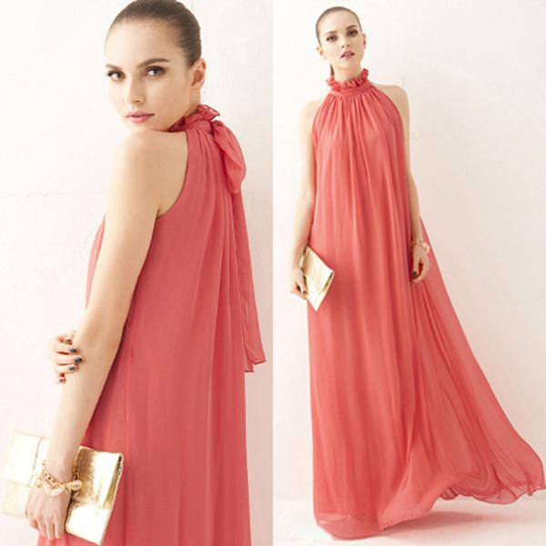 Fashion summer Maxi Long Casual Summer Beach Party Chiffon Dress Stand Collar Ruffles Sleeveless Dresses Women Clothing