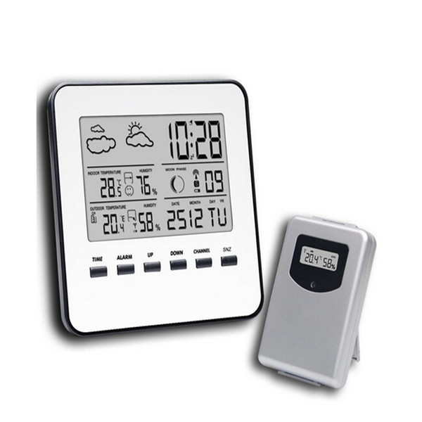 In/Outdoor Thermometer Hygrometer Wireless Weather Station LCD Digital Temperature Humidity Meter Weather Forecast Alarm Clock