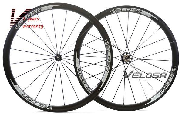 Velosa Sprint 35 bike carbon wheelset,38mm clincher/tubular 700C road bike wheel,2:1 carbon hubs,super light pillar 1420 spokes