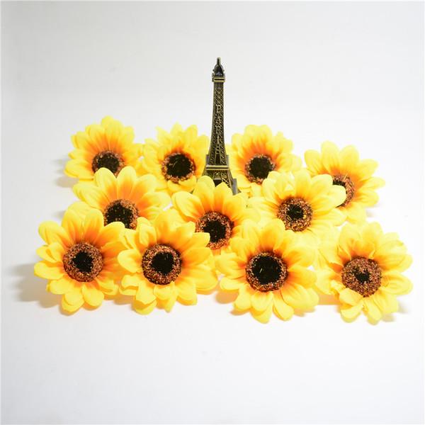 Atacado-10pcs grande girassol de seda artesanal cabeça de flor artificial para caixa de casamento decoração diy guirlanda flores de produtos de floricultura decorativo