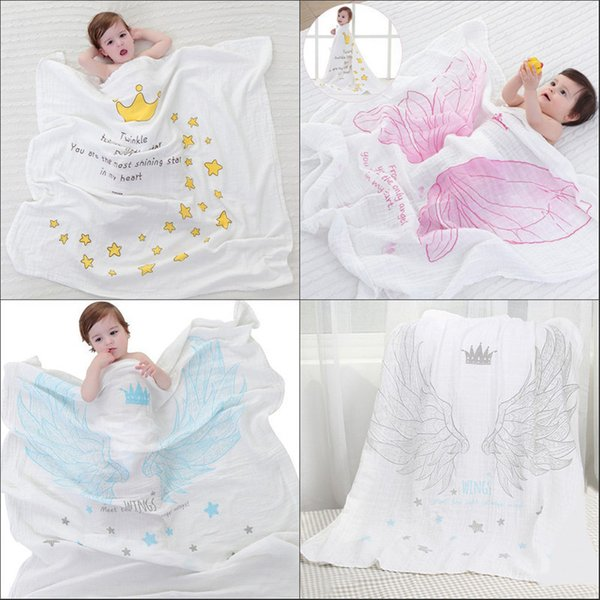 Wholesale- New 1pc Dual-layer Cotton Gauze Scarf Baby Towels Newborn Angel Wings Pattern Swaddling Towel Breathable Blanket For Baby Care