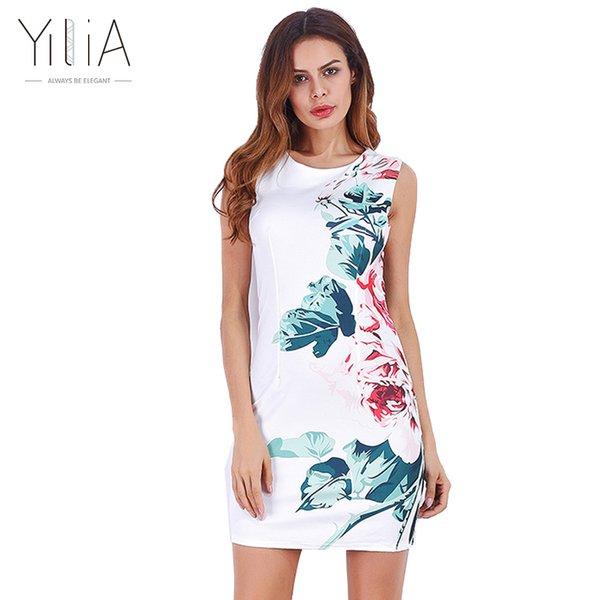 Großhandel Yilia Weißes Kleid Frauen 2017 Sommer Elegante Split ...