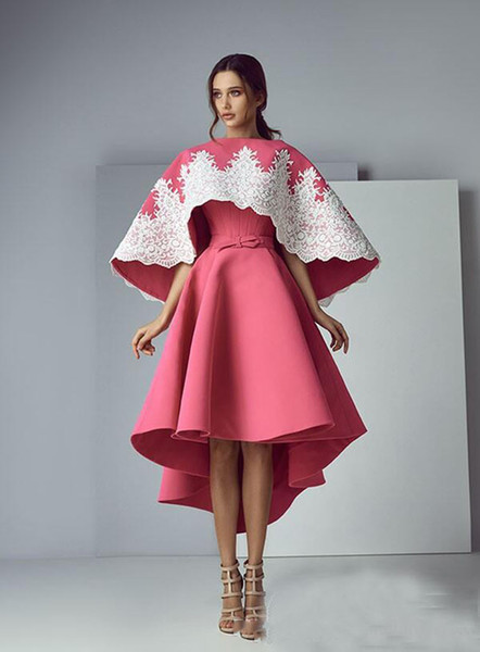 Ashi Studio Fashion 2017 Watermelon Prom Dress Custom Made With Big Wrap Strapless Formal Party Gowns High Low With Applique Evening Dresses