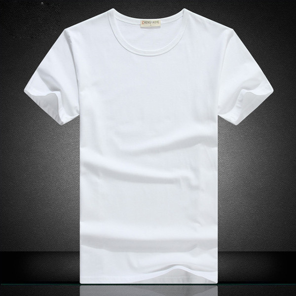 top popular Men's short-sleeved T-shirt pure cotton summer collar with white and white hand-painted han edition 2019