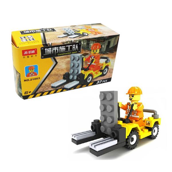 top popular Free DHL 37PCS SET City Construction Vehicle Car Model Building Blocks Set Children Educational Puzzle Toys Kids Gifts 2020