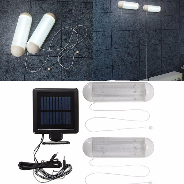 Waterproof 5V Solar Powered 2pcs LED Solar Light LED Outdoor Light Bulb Garage Shed Corridor Stable Cord Switch Lamp