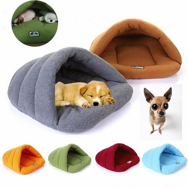 6 Renkler Yumuşak Polar Kış Sıcak Pet Köpek Yatakları 4 Farklı Boyutu Küçük Köpekler Uyku Tulumu Köpek Keçe Mağara Kedi Yatak