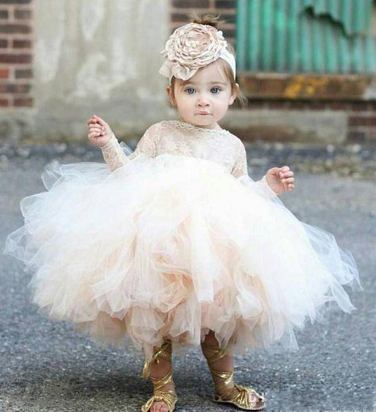 Vestiti del bambino di spettacolo del bambino del vestito infantile del bambino, vestito dal tutu del pizzo dal manicotto lungo, vestiti da cerimonia nuziale del vestito dalla ragazza di fiore dell'avorio e dello champagne