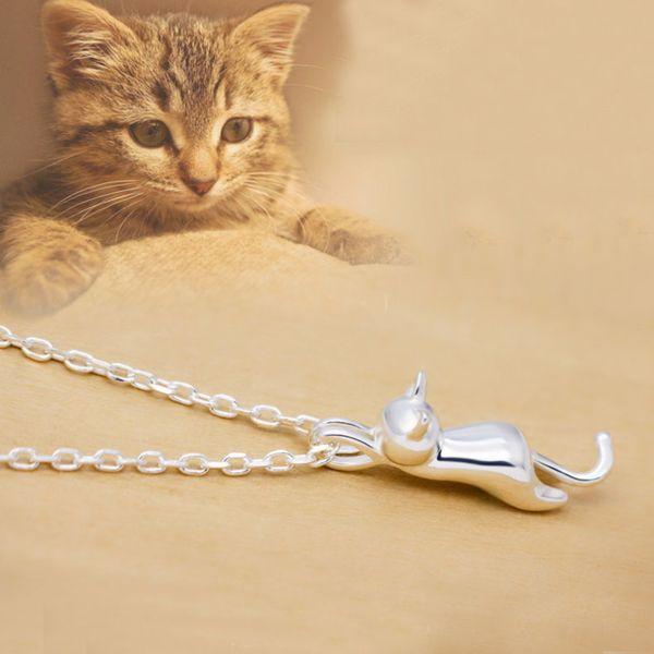 Beyaz veya Gül Altın Renk Sevimli Kitty Kedi O Çapraz Zincir Kolye Kolye Hayvan Takı Bijoux Kadınlar için Çocuk Çocuk Kız