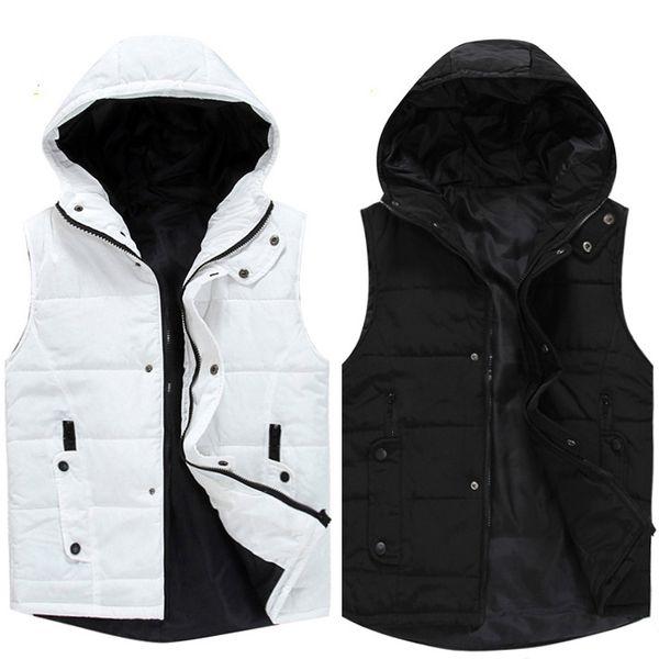 Wholesale- Black Winter Vest Men Jacket Waistcoat Styles Casual Vests of Men Coat Autumn Colete Masculino Slim Fit Gilet Homme