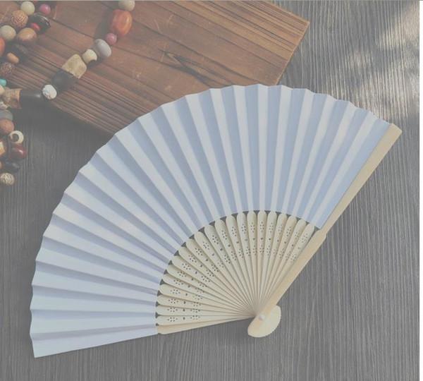 best selling 100 pcs lot 21 cm Wedding White color Paper Hand Fan Wedding Party Decoration Promotion Favo