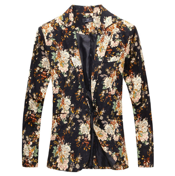 Wholesale- 2017 Spring floral blazer men suit korean slim big size new casual jacket suit euro Popular style, fashion men's blazer
