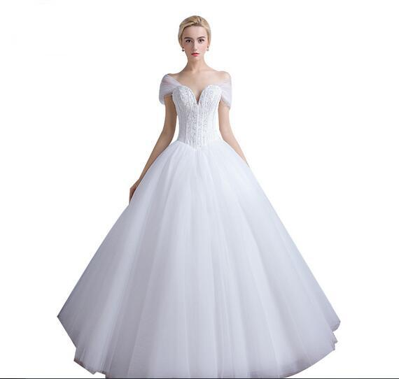 Dropped Waistline White Tulle Beaded Wedding Dress With Bones 2017 Collection Sweetheart Bridal Dress Free Shipping