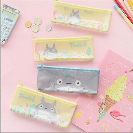 Wholesale- 20 pcs/lot PVC cute totor cats stylel Pencil bag kawaii B6 grid file bag mini pencil case students pouch stationery