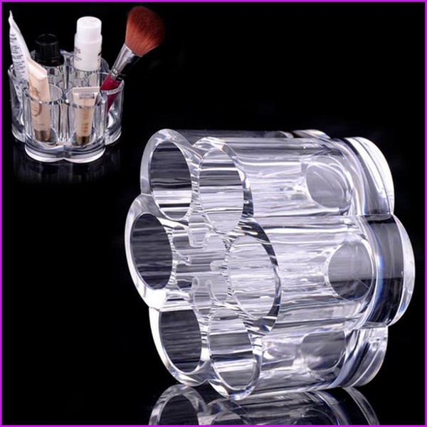 best selling Acrylic Round 12 Holes Lipstick Makeup Brush Holder, Sundry Display Mascara Stand Cosmetic Organizer Makeup Case storage box