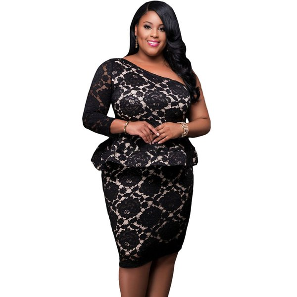2019 Big Women Plus Size Black Lace Illusion Curvaceous One Shoulder Peplum  Dress Large Clothes Vestido De Renda LC61332 From Ylyshop0001, $16.09 | ...