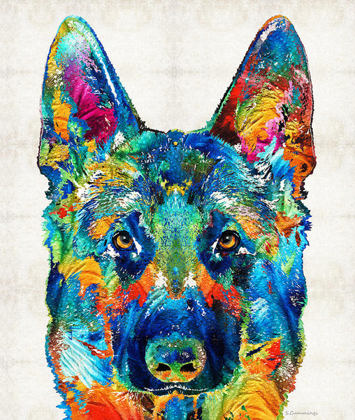 The art of printing high quality decorative painting ---colorful-german-shepherd-dog-art-by
