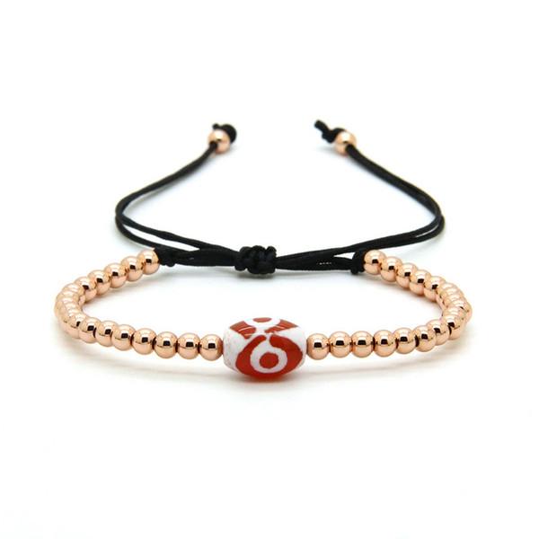 Religious Fashion Jewelry 10pcs/lot 8mm Dzi Eye Agate Stone With Gold Silver Rose Brass Beads Macrame Bracelets
