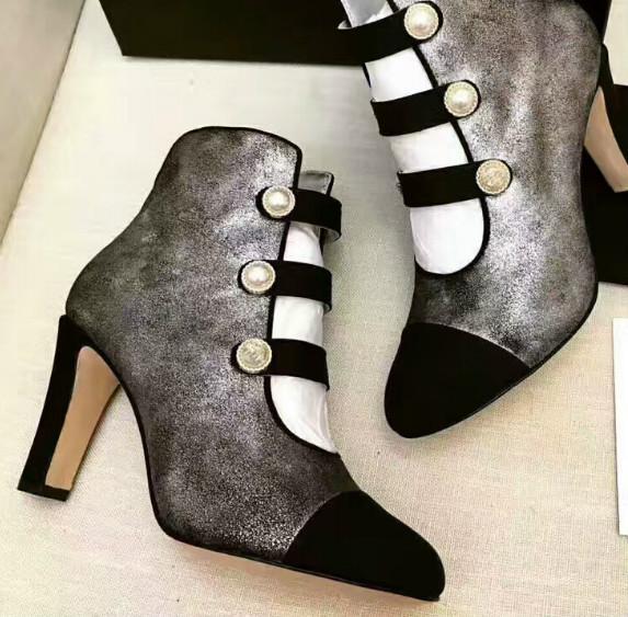 Мода женщины толстые полые сапоги Женские овчины круглая голова на высоком каблуке сапоги партия обувь борьба цвет жемчуг кожа дно пр сандалии обувь