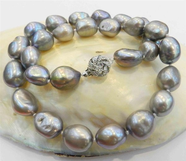 gorgeous 12-13mm south sea baroque silver grey pearl necklace 18inch 925s