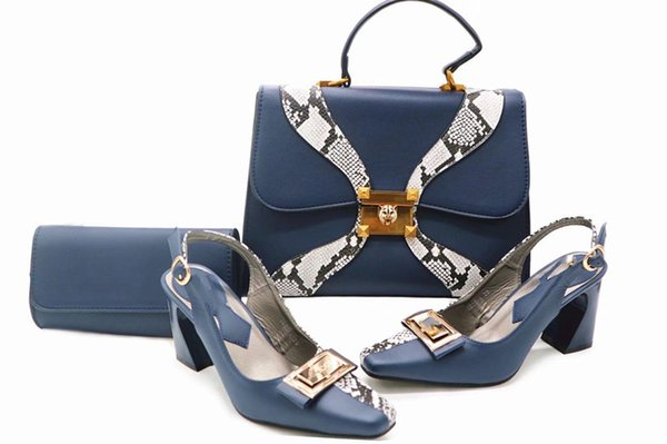 Blue Italian designs Shoes matching Bag African Style fashionable shoes and bag set high quality nigeria for wedding party